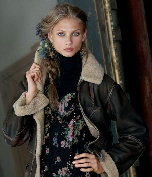 ralph lauren shearling leather jacket for girls