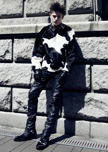 hot men in leather pants - luke worrall - fashion model