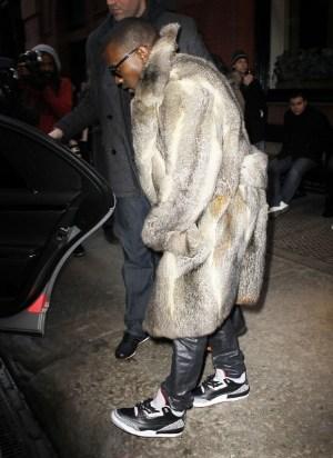 kanye west fur coat for winter fashion