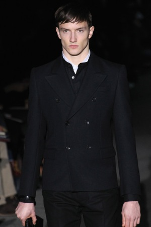 male model wearing double breasted coat