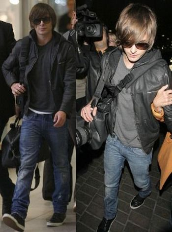 celebrities wearing superdry leather jacket - zac efron