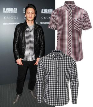 mens plaid shirt with leather - james franco