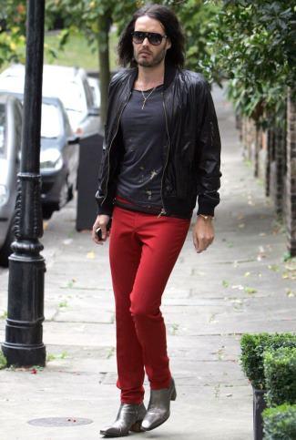 red denim jeans celebrity russel brand