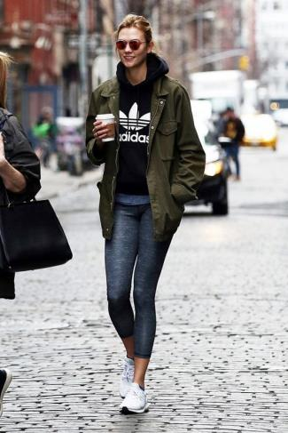 celebrities wearing adidas hoodie - Karlie Kloss