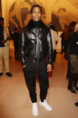 celebrities wearing dior homme leather jackets - ASAP Rocky in aviator leather jacket by dior