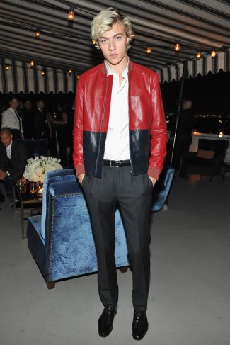 celebrities wearing dior homme leather jackets - Lucky Blue Smith in Dior Homme