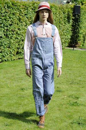 male models in overalls by junya
