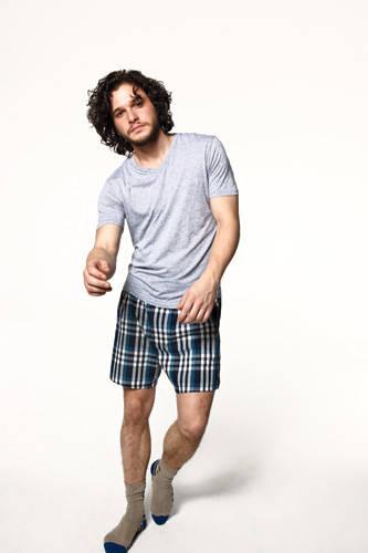 Kit Harington - gap boxers and splendid mills vneck shirt and lacoste socks