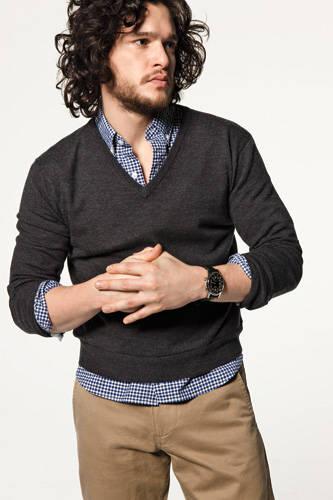Kit Harington fashion- longines dress watch and jcrew sweater