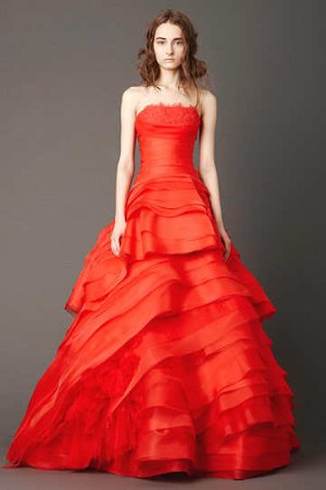 red wedding dresses by vera wang