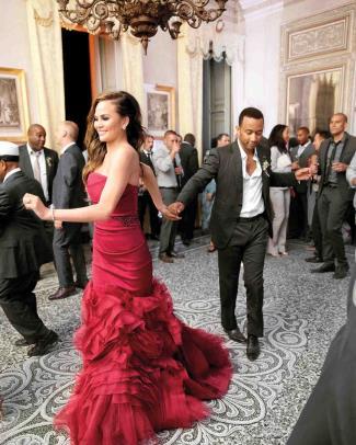 red wedding dresses - chrissy teigen vera wang - reception