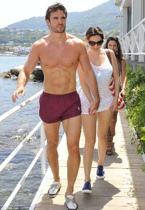thom evans shirtless beach shorts