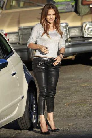 jennifer lopez leather pants by balmain