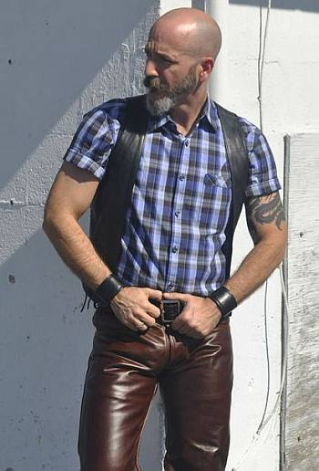 old men wearing leather pants