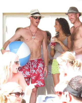prince harry shirtless with big ball