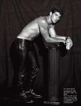 male model in leather pants crocodile
