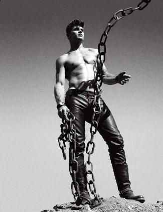 male model in leather pants ryan betroche