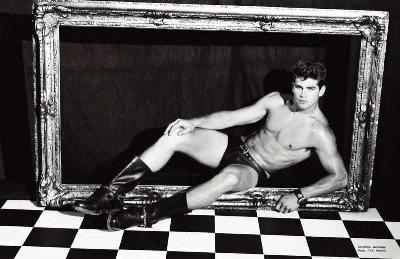 male model in leather underwear