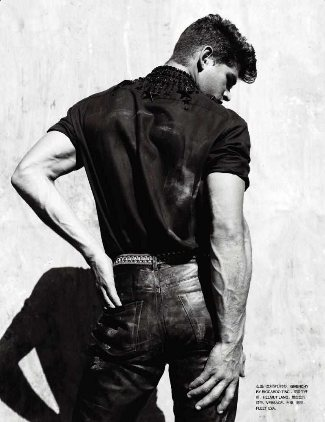 hot male model in leather pants