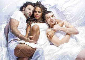 aidan turner - briefs underwear with lenora crichlow and russel tovey