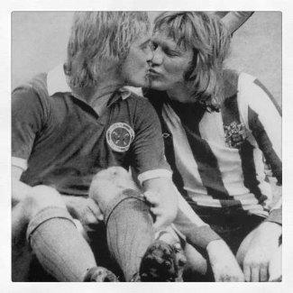 football gay kiss 1970s - Tony Currie -Sheff Utd- and Alan Birchenhall of Leicester
