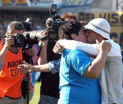 Tevez and Maradona gay kiss