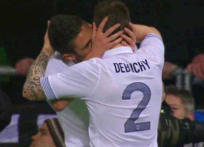 football players kissing each other - Olivier Giroud Mathieu Debuchy