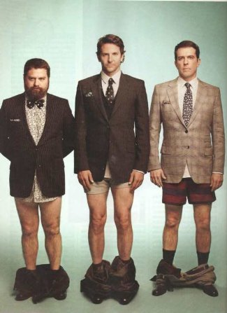 Bradley cooper underwear boxers - with Zach Galifianakis and Ed Helms