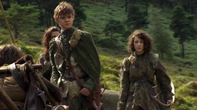 Thomas Brodie-Sangster as Jojen Reed and Ellie Kendrick as his sister Meera Reed