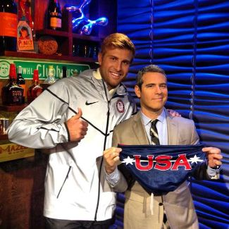 andy cohen speedo with water polo star Chay Lapin