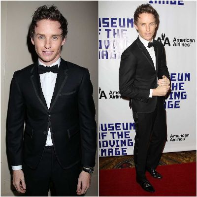 eddie redmayne suis fashion style- Thom Browne tuxedo - museum of moving images