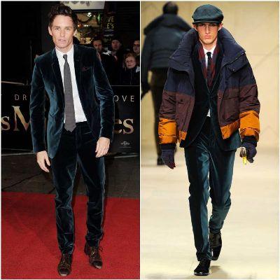 eddie redmayne suits - green velvet suit from Burberry Tailoring