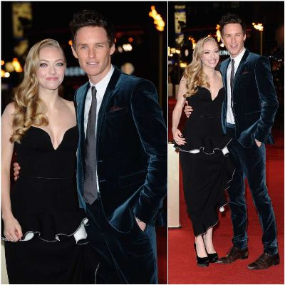 eddie redmayne suit - london les miz premiere - with amanda seyfried