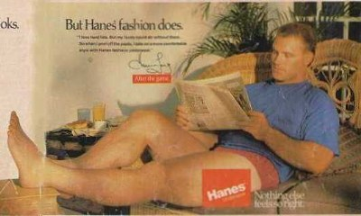 howie long hanes underwear ad - red boxers