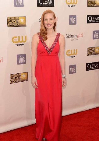 best red dresses jessica chastain - critics choice - prada dress - best red dress 2013