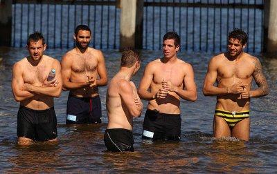 lance franklin shirtless with teammates at brighton beach australia