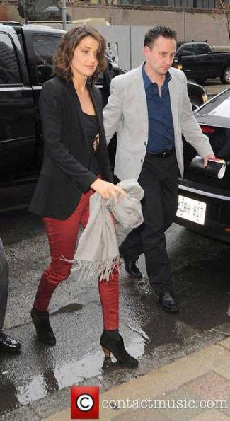 red leather pants cobie smulters - Cobie Smulders and J Brand Red Coated Super Skinny Pants
