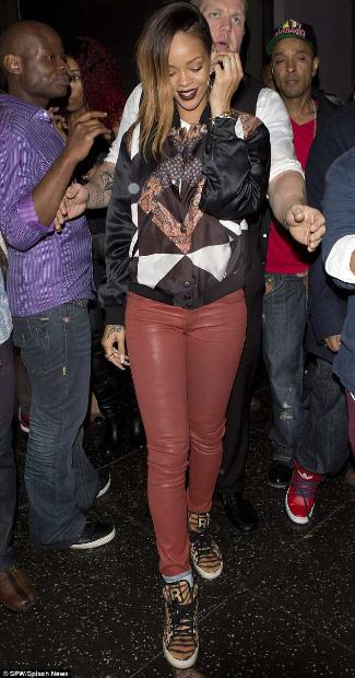 red leather pants for women - rihanna