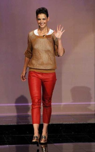 red leather pants - katie holmes - Isabel Marant Sok Cropped Leather Pants