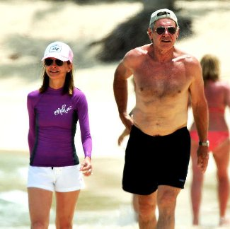 harrison ford - 2009 shirtless - with calista - carribean