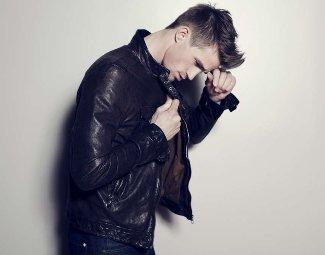 josiah hawley - leather jacket - fashion model