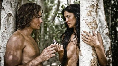 paul knops - shirtless - adam in the bible - with darcie lincoln as eve