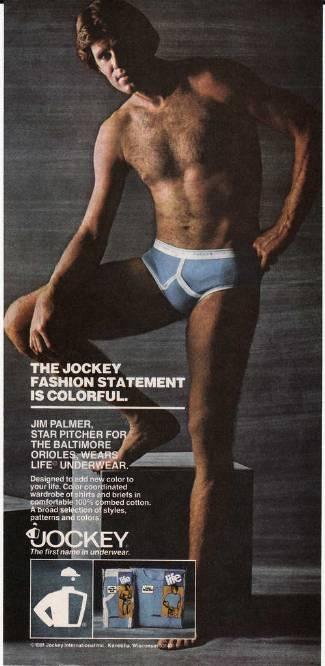 baseball player in underwear - jim palmer for jockey briefs