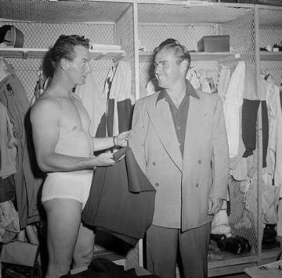 baseball player locker room - Boston Braves unknown probably Clint Conatser and Tommy Holmes in locker room at Braves Field - pic by leslie jones