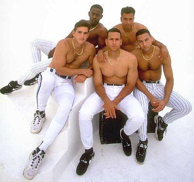 shirtless baseball players Alex Gonzalez Edgar Renteria Rey Ordonez Derek Jeter and Alex Rodriguez