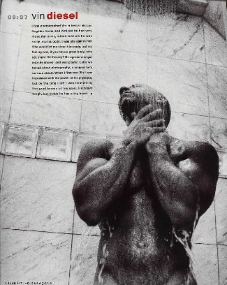 vin diesel no clothes and wet in shower