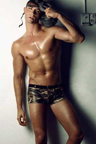 czech male underwear model - Jan Poborak in camouflage underwear