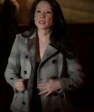 joan watson lucy liu coat - Burberry Check Peplum Pea Coat