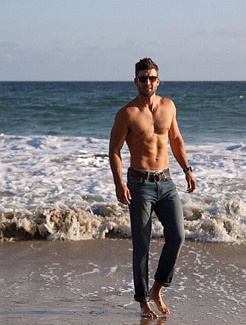parker young shirtless at the beach
