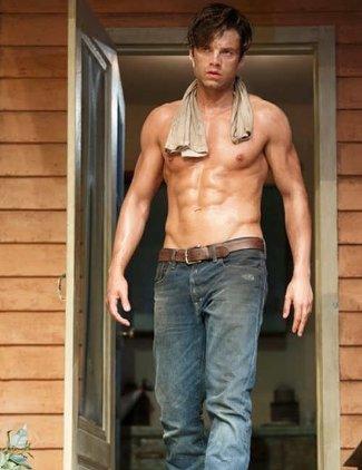sebastian stan underwear - washboard abs